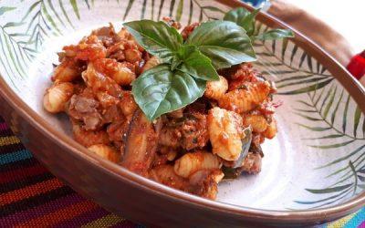 Gnochetti con vegetales y caviar de berenjenas